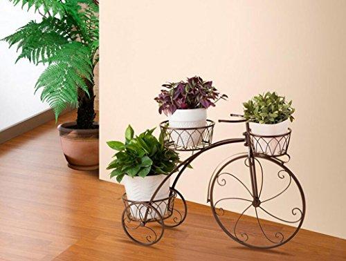 Estante de la flor De estilo europeo jardín de hierro bicicleta modelo de plataforma de la planta Holds3-flor estante de la maceta para el balcón, interior, al aire libre, Flower Racks Macetas para flores estante ( Color : Negro )