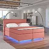 Moebel89 Boxspringbett Amadeo in rosa Gewebe mit LED, Farbe wie abgebildet 180cm x 200cm/Bett, Doppelbett, Hotelbett, Gästebett als Boxspringbett mit Federkern mit Schaumpolsterung