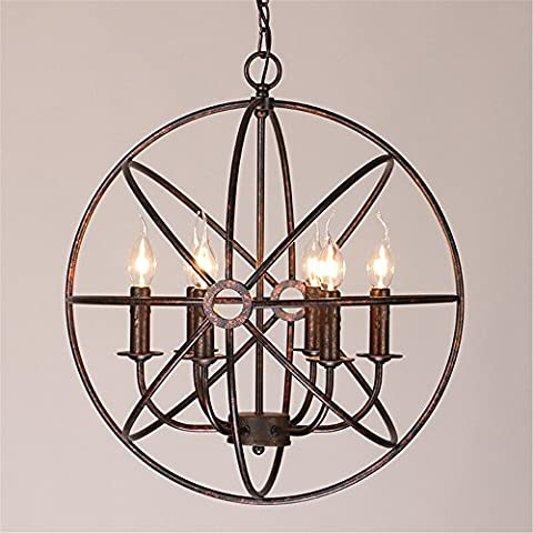 American Village Retro creative industry wind Iron circular globe chandelier