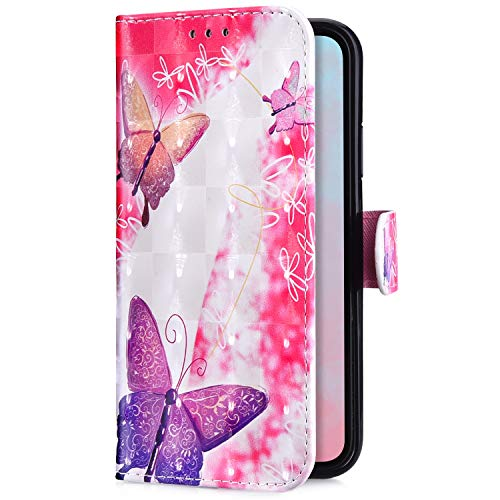 Uposao Kompatibel mit Huawei Mate 20 Lite Handytasche Bling Glitzer 3D Muster Handy Hülle Flip Case Cover Schutzhülle Tasche Lederhülle Bookstyle Klapphülle Kartenfächer,Pink Schmetterling