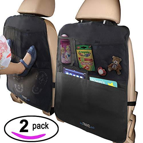 MyTravelAide Luxus Auto-Rückenlehnenschutz mit Rücksitz Organizer Tasche - 2 Stück - Einzigartige große Taschen - Wasserfester - Utensilientaschen