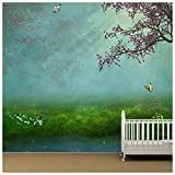 azutura Kirschblütenbaum Fototapete Fantasy Wald Tapete Mädchenzimmer Dekor Erhältlich in 8 Größen Mittel Digital