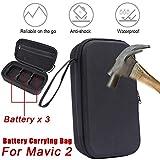Wokee Tragbare Feuerfeste Batterie Tasche Batteriefachabdeckung Box mit 3 Batteriebeutel aufbewahren Für DJI Mavic 2 Pro/Zoom,25x14,5x7cm,Schwarz