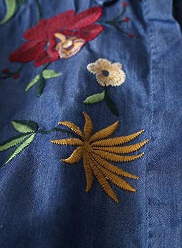 Futurino Damen Sommer Hohe Low Seitlichen Schlitzen Floralem Bestickte Chest Pocket Denim Bluse Dunkel Blau
