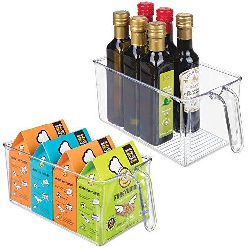 mDesign Juego de 2 cajas de almacenaje de plástico – Ideales para l