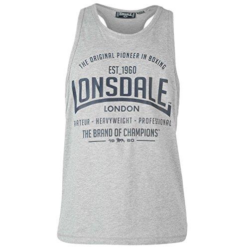 Lonsdale Herren Boxen Tank Top Aermellos U-Ausschnitt Sportshirt Muskelshirt Grau XXX Large