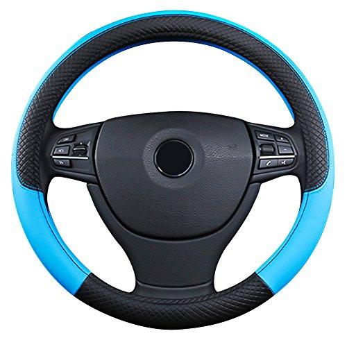 Funda para volante de coche universal de azul y negro de 38cm