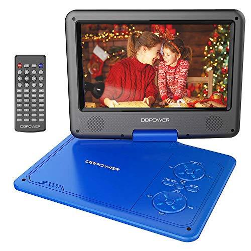 DBPOWER 9.5'' Tragbarer DVD-Player mit Wiederaufladbarer Batterie, Schwenkbaren Bildschirm, Unterstützt SD-Karte und USB, mit Spiele-Joystick, Auto-Ladegerät-Blau