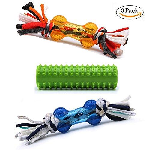 Pro Goleem Langlebige Texturierte Gummi Knochen kauen Spielzeug für Hunde mit colourfor Geflochtenen Baumwolle Knoten, (3Stück) (2 Knoten Seil)
