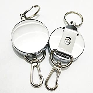 Anti-theft Anti-lost Key Ring Black and Silver Color Metal Keychain Retractable Reel Keychain for Keys very Convenient 1 PCS