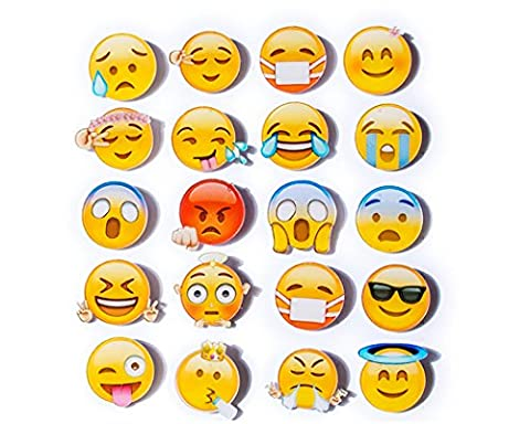 DSstyles Emoj Button Badge 20 Pieces 1.4 Inches Lapel Pin Badge Cute Button Pin Badge Set for Bags