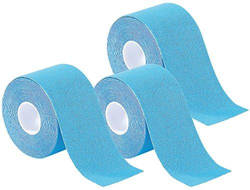 newgen medicals Tapeband: Kinesiologie-Tape aus Baumwollgewebe, 3er-Set, blau (Kinesiology Tape)