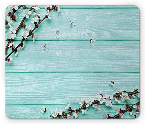 Drempad Gaming Mauspads, Mint Mouse Pad, Spring Cherry Blossom Petals Branch on Rustic Wooden Planks Seasonal Picture, Standard Size Rectangle Non-Slip Rubber Mousepad, White Brown Seafoam -