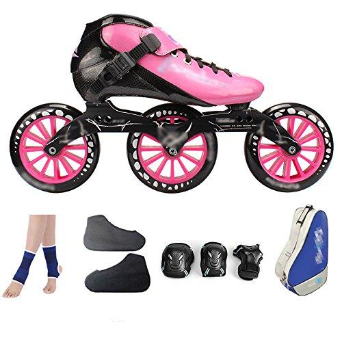 MLSS LI Carbonfaser-Eisschnelllauf-Schuhe, Die Professionelle Große Rollerskate-Schuhrollschuhe der Erwachsenen Kinder Rollen Inline-Rollschuhe Rosa,PinkD-38