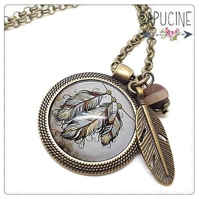 Sautoir bronze avec cabochon verre plumes - Long collier rétro avec plumes - Attrape rêves - idée cadeau de noël, cadeau de saint valentin, cadeau d'anniversaire, cadeau fête des mères