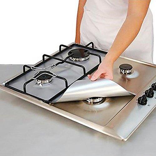 4pcs carré Feuille cuisson au gaz Protector Liner réutilisables facile à nettoyer de cuisson Réchaud Protector Foil Réchaud à gaz Brûleur Coque Tapis de Pad Taille M Silver Brussels08