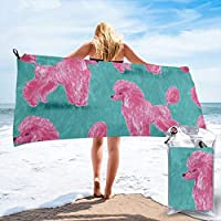 Socksforu Fast Quick Dry Towel,Sports & Beach Towel.Custom Hot Pink Poodles Suitable For Camping, Gym, Yoga,Swimming,Travel,Hiking,Backpacking.
