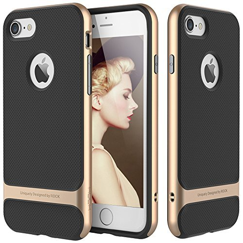 ROCK iPhone 6/6S 11,9 cm Schutzhülle, [Royce] Kratzfest Drop Schutz Ultra Dünn Slim FIT Dual Layered Heavy Duty Armor Hybrid PC + weich TPU Pro, iPhone 6 Plus Champagne Gold/Black