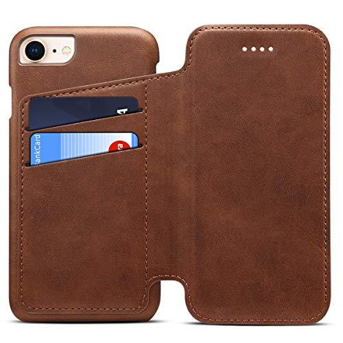 Apple iPhone 6/6s Leder Handy Hülle Flip Case Handytasche Cover Schale mit Kredit Karten Fach Geldbörse Geldklammer Leder Handy Schutzhülle,Braun