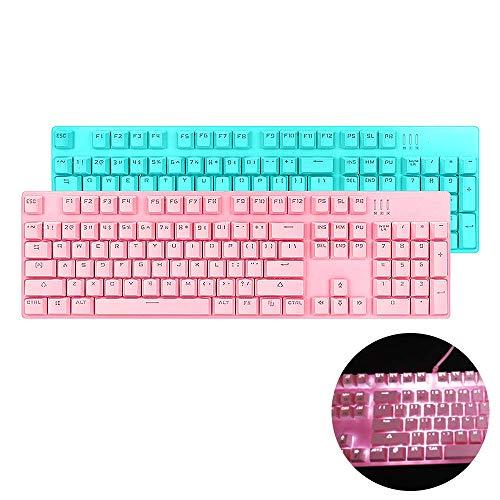 Aegilmc Gaming-Tastatur, Hintergrundbeleuchtung, für Damen, RGB Mechanische 108 Tasten, PBT Dye-Subbed Tastenkappen, Universal-USB-Schnittstelle mit weißer Hintergrundbeleuchtung Magicforce Rose -