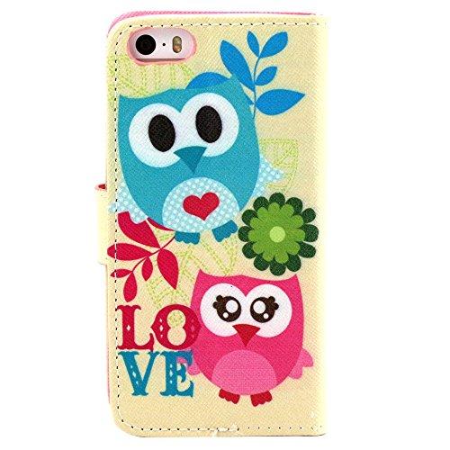 EUDTH iPhone SE Coque Peinture Style Housse Flip Cover Portefeuille Etui en Cuir de Protection Case vec B¨¦quille pour iPhone 5 / 5S / iPhone SE -YH06 YH16