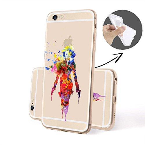 Finoo Silicone Motivo 9 - Queen Con corona, iPhone 6/6S Nero Vedova colorato SILICONE