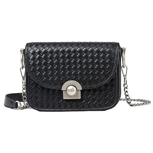 Frau Gewebt Modekette Tasche Schulter-Kurier-beiläufige Handtasche Black