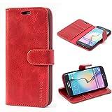 Mulbess Handyhülle für Samsung Galaxy S6 Edge Hülle, Leder Flip Case Schutzhülle für Samsung Galaxy S6 Edge Tasche, Wein Rot