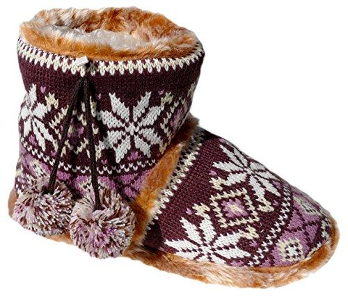 Pantofole Da Donna Con Gibra®, Foderate, Marrone / Rosa, Taglia 37/38 - 41/42 Marrone / Rosa