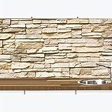 1a Premium – Set decorativo per la cucina effetto pietra – paraspruzzi – Parete – Specchio piastrelle – Wandtatoo – rimovibile – motivo pietra naturale beige