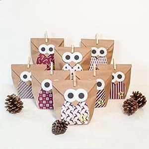 pajoma diy adventskalender bastelset christmas owl red 1 x 24 kraftpapiert ten zum bef llen. Black Bedroom Furniture Sets. Home Design Ideas