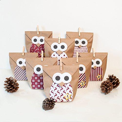 DIY Adventskalender Bastelset Christmas Owl red, 2 x 24 Tüten individuell befüllbar, inkl. Sticker