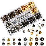 Haobase Lot de 120 Boutons-Pression en métal 12,5 mm et 4 perforateurs pour vêtements, Loisirs créatifs, 4 Couleurs