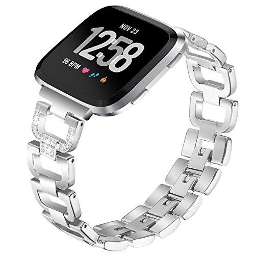 PUGO TOP Armband Replacement für Fitbit Versa Smartwatch, luxuriöses Ersatzarmband aus Edelstahl mit Kristallen besetzt-Silber -