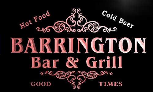 u02425-r BARRINGTON Family Name Bar & Grill Cold Beer Neon Light Sign Barlicht Neonlicht Lichtwerbung -