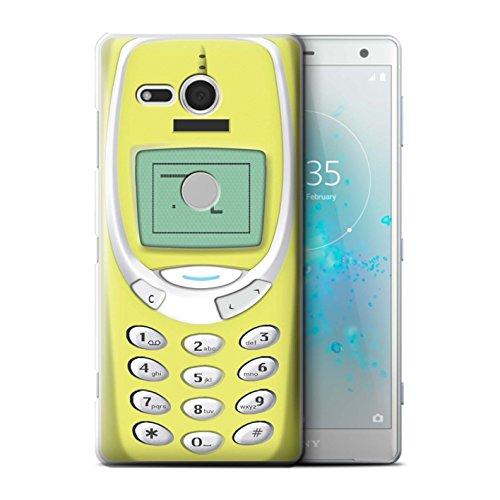 Stuff4® Hülle/Case für Sony Xperia XZ2 Compact/Gelbes Nokia 3310 Muster/Vintage Handys Kollektion -