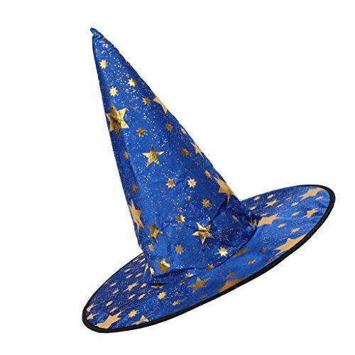 Sharplace Halloween Party Hexen zauberhut Kegel Kappe aus Spitze Tanzkleid - Blau, 37cm * 18cm * (Blaue Fee Kostüm Die Und Schwarze)