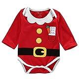 zooarts für 0–18Monate Unisex Baby Jungen Mädchen Lange Ärmel Weihnachten Santa Claus One Piece Body Overall Strampler Outfit Winter Kleidung, Baumwollmischung, multi, 80 (0-6 Months)