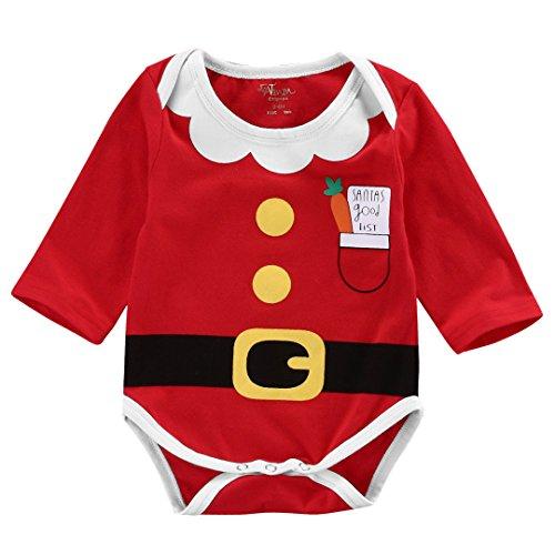 zooarts para 0–18meses, unisex bebé niños niñas manga larga Mono de Una Pieza Body Pelele Disfraz de Papá Noel Invierno Ropa, mezcla de algodón, multicolor, 6-12 Meses