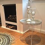 Stehtablett MIROIR Tablett Tisch weiß Metall Spiegelglas Boho Beistelltisch Country Landhaus