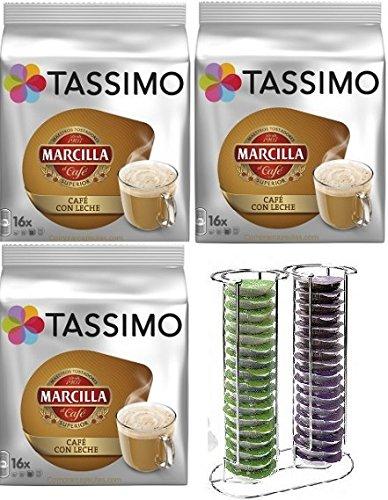 Tassimo Marcilla Café con Leche 48 bebidas más 1 Soporte Cápsulas 34 T Discs