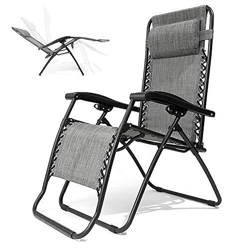 ZDYLM-Y Relax-liegestuhl Klappbar, Verstellbare verstellbare Klappstühle mit abnehmbarem Kissen für den Außenbereich des Strandpools, Schwarz + Grau