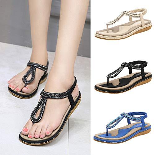 Gladdon Mode décontractée tricotée Bande élastique Tongs compensées Sandales Chaussures de Travail