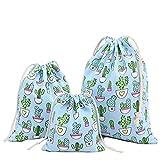 Amoyie – Set sacchettini per feste e compleanni piccolo, 3 pezzi, borse organizer portatutto per valigie con coulisse, sacchi da biancheria, borsa per giocattoli, spazzola, matite colorate, presentazione e confezione gioielli, caramella, Cactus in azzurro