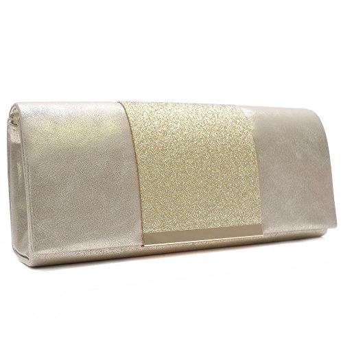 Vain Secrets Damen Umhänge Tasche Abendtaschen Clutch in vielen Farben Gold