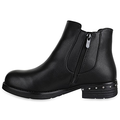 Stiefelparadies Damen Stiefeletten Chelsea Boots Zipper Leder-Optik Schuhe Nieten Metallic Lack Glitzer Blockabsatz Booties Profilsohle Flandell Schwarz Nieten Agueda
