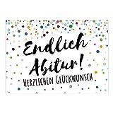 Große XXL Glückwunsch-Karte mit Umschlag/A4/Konfetti bunt - Endlich Abitur/Moderne Grußkarte zur bestandenen Prüfung
