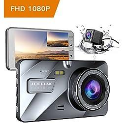 """JEEMAK 4"""" FHD Dual Lens Dash Cam 1080P Cámara de Coche Camara para Coche con Gran Angular de 170 grados Grabadora DVR G-Sensor Monitor de aparcamiento y visión nocturna WDR y grabación en bucle"""