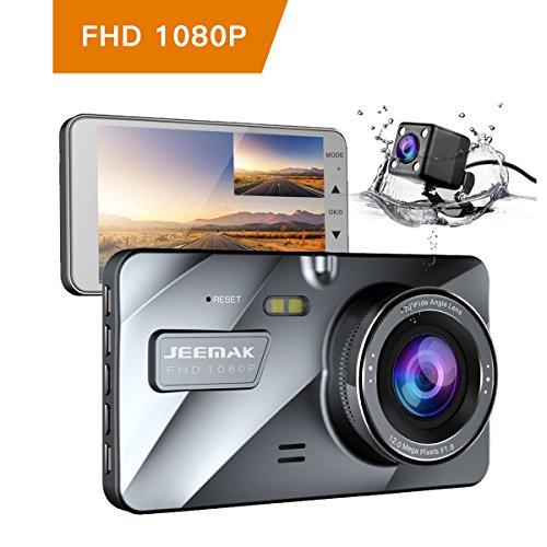 """JEEMAK 4"""" FHD 1080P Cámara de Coche Dual Lens Camara para Coche Dash Cam con Gran Angular de 170 grados Grabadora DVR G-Sensor Monitor de aparcamiento y visión nocturna WDR y grabación en bucle"""