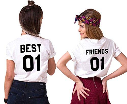 Mejores Amigas T-Shirt Best Friends Camiseta 2 Piezas Shirt 100% Algodón Verano con Manga Corta BFF Para Mujer Moda(Blanco+Blanco,Best-M+Friends-M)
